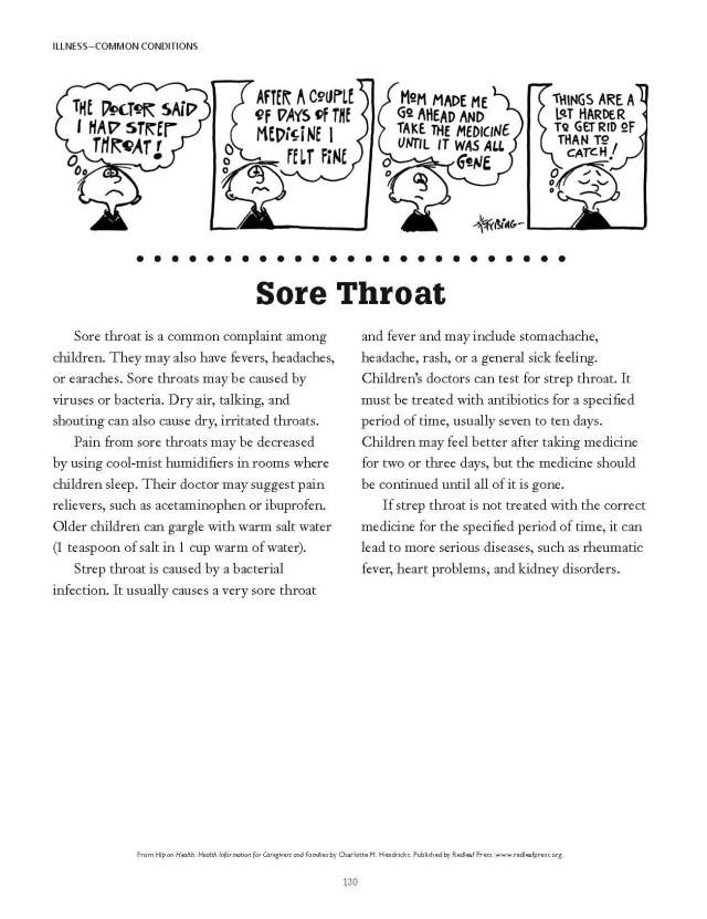 Sore throat info
