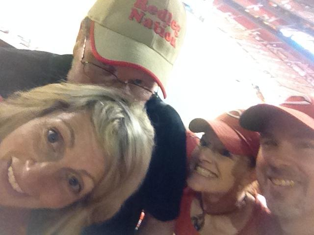 Daughter Kym, sergeant 2, Wendy and Ken having a good time at Busch Stadium, in spite of the tragicomedy on the field.