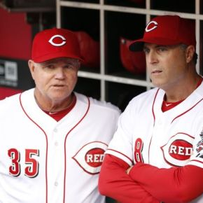 Reds third base coach Steve Smith out