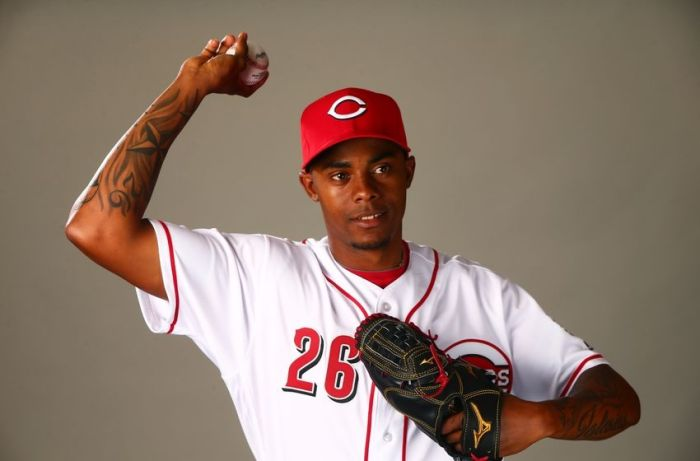 Feb 24, 2016; Goodyear, AZ, USA; Cincinnati Reds pitcher Raisel Iglesias poses for a portrait during media day at the Reds training facility at Goodyear Ballpark. Mandatory Credit: Mark J. Rebilas-USA TODAY Sports