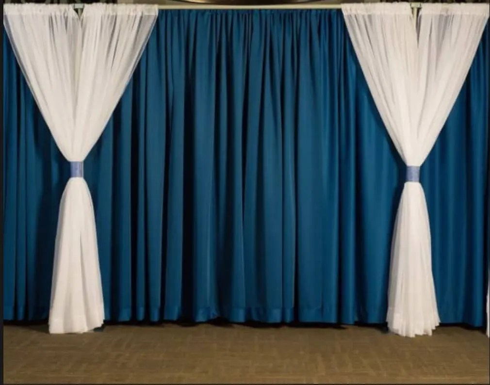 blue pipe and drape with white valence decor