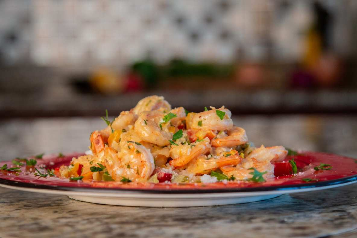 Creamy Garlic Shrimp and Peppers