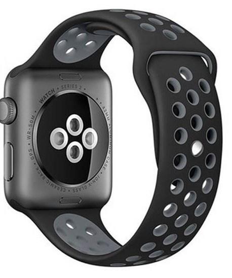 bratara din silicon negru si gri apple watch