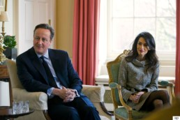 British Prime Minister David Cameron, left, meets with Former Maldives president Mohamed Nasheed, not pictured, and British lawyer Amal Clooney inside 10 Downing Street in London, Saturday, Jan. 23, 2016. Former Maldives president Mohamed Nasheed left the Maldives on Monday for Sri Lanka after resolving a last-minute legal dispute with the government over his 30-day release for the spinal cord surgery in the UK. (Justin Tallis/Pool Photo via AP)