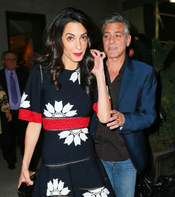 Amal Clooney and George Clooney go to dinner with Amal's parents Ramzi and Baria Alamuddin and her sister Tala at Caravaggio in NYC. Pictured: Amal Clooney and George Clooney Ref: SPL1011841 280415 Picture by: XactpiX/Splash News Splash News and Pictures Los Angeles:310-821-2666 New York:212-619-2666 London:870-934-2666 photodesk@splashnews.com