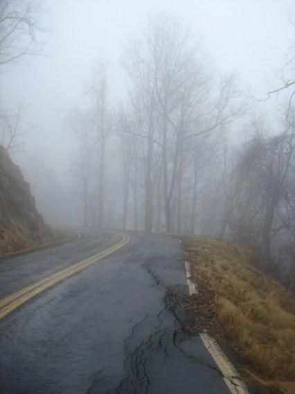 Crack in road, fogging morning ride