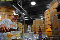 Shot of the Day: Bernie pouring LOF Lost Abbey Brett Beer in the Barrel Room (Largest in US)
