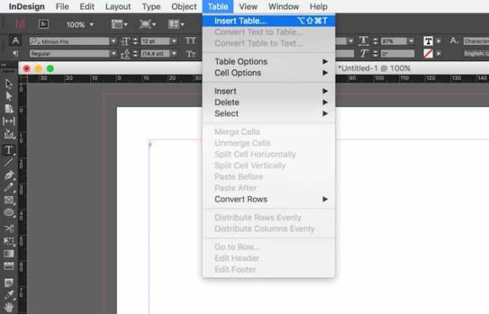 InDesign'da tablo nasıl çizilir: Tablo Ekle'ye tıklayın