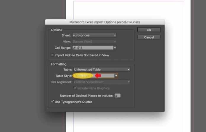 Excel dosyasını InDesign'a aktarma: e-tabloyu bağlama