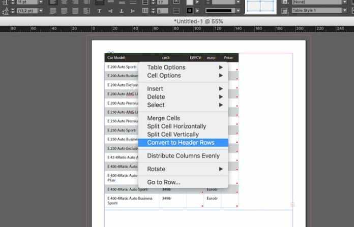 Excel dosyasını InDesign'a aktarma: başlık satırlarına dönüştürme