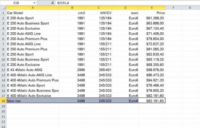 Excel dosyasını InDesign'a aktarma: Excel'de düzenlenmiş tablo