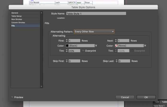 Excel dosyasını InDesign'a aktarma: alternatif kalıbı ayarlama