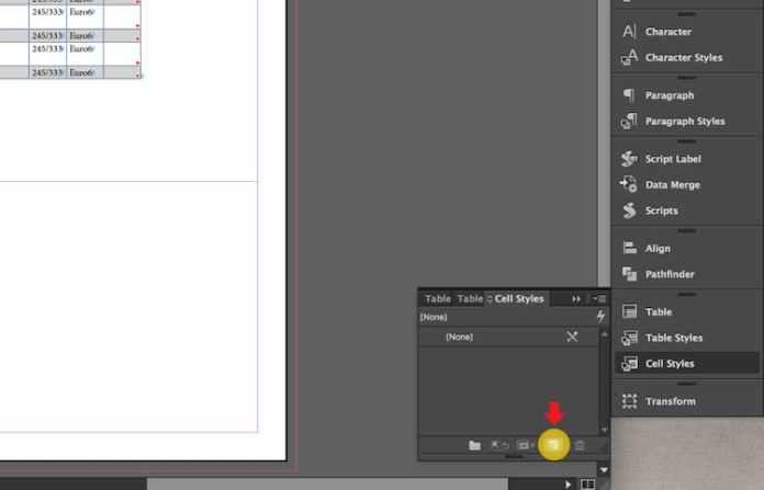 Excel dosyasını InDesign'a aktarma: yeni Hücre Stili oluşturma