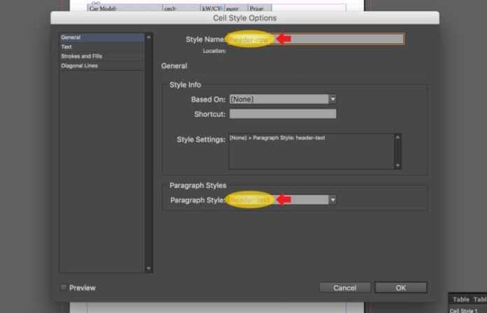 Excel dosyasını InDesign'a aktarma: adı değiştirme ve paragraf stilini ayarlama