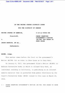 ORDER GRANTING GOVERNMENT'S MOTION (#1788) FOR ORDER TO SHOW CAUSE
