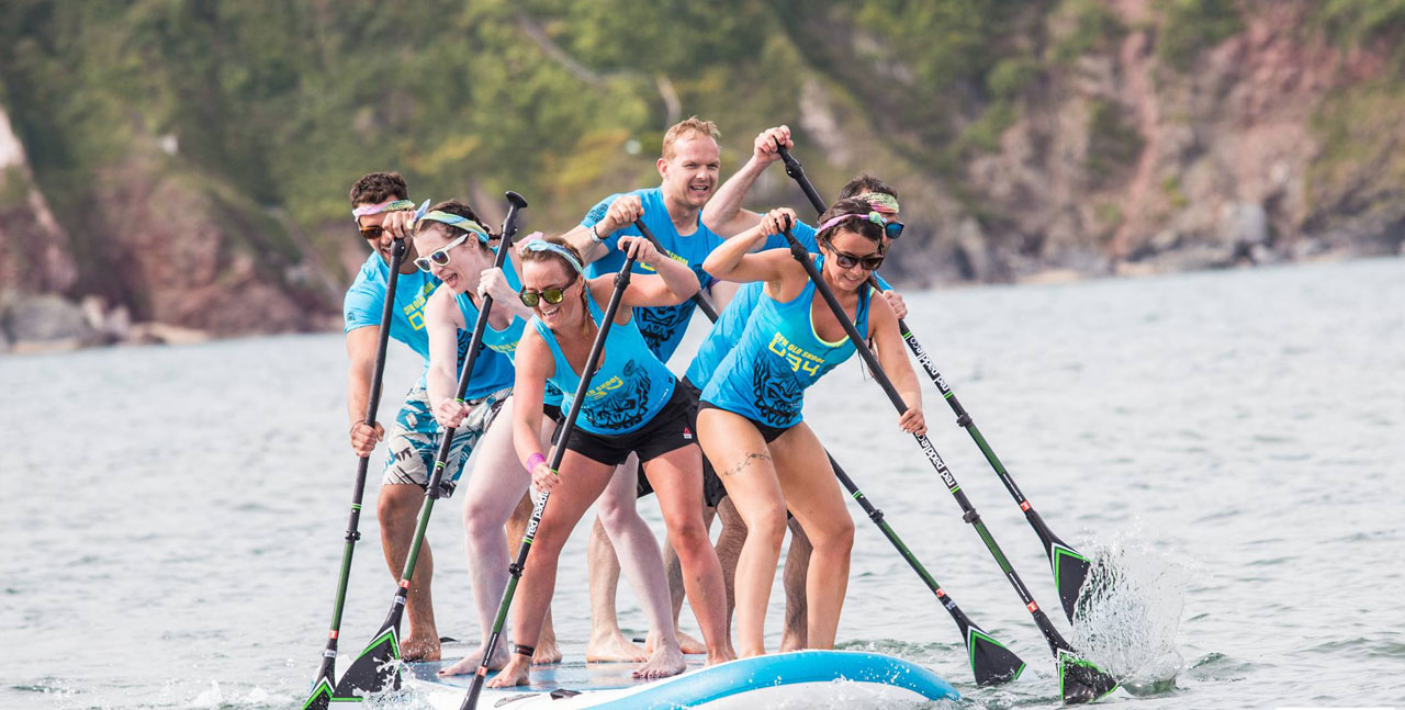 Racing on inflatable paddle board
