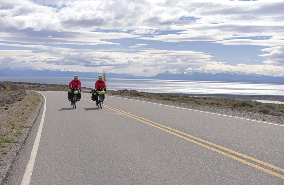 two cyclists on road in Patagonia