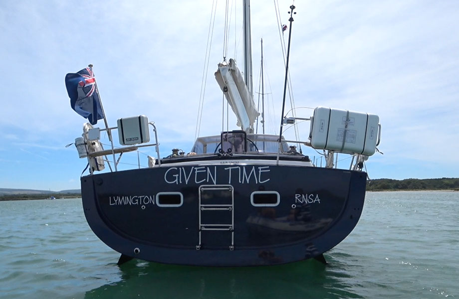 stern of Given Time sailing boat