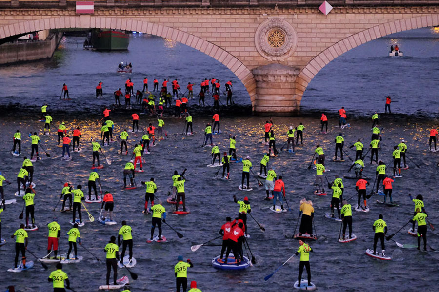 Paddlers take part in Nautic SUP Open in Paris