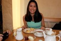 Enjoying afternoon tea at Cellarium Cafe.