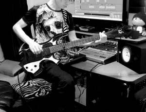 Patrick Tracking Guitars at Harsh World Studio