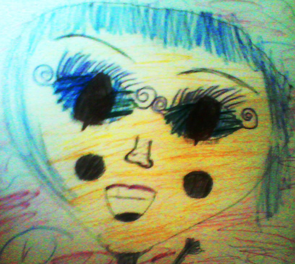 Em Big Eyes, the doodle Em sent to me via her phone, image © 2009 by Em, all rights reserved