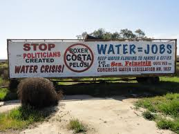 Signs begging Sacremento and DC to turn the water back on are scattered all over the lower San Joaquin Valley.