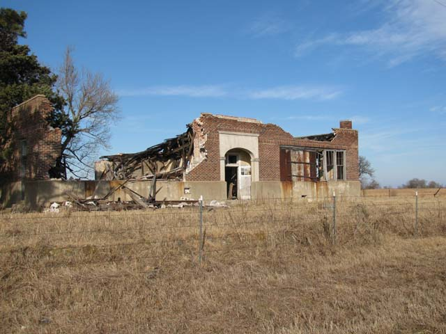 The remains of a school on an Oklahoma prairie.