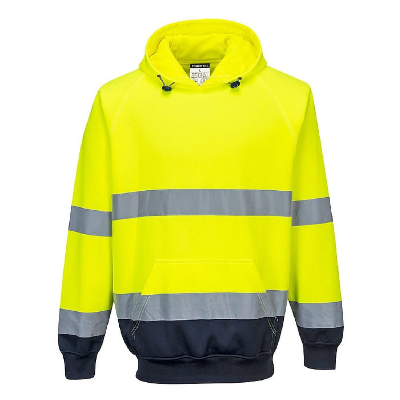 Redrok Workwear Centre Plymouth - Hi-Vis Lite Bomber Jacket - Two Tone Hooded Sweatshirt - Yellow/Navy