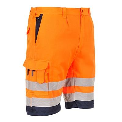 Portwest Hi-Vis Poly-Cotton Shorts - Orange/Navy