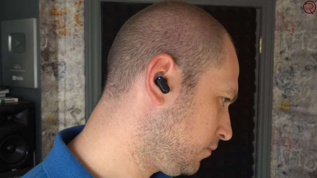 Blitzwolf BW-FYE7 wireless earbuds in an ear