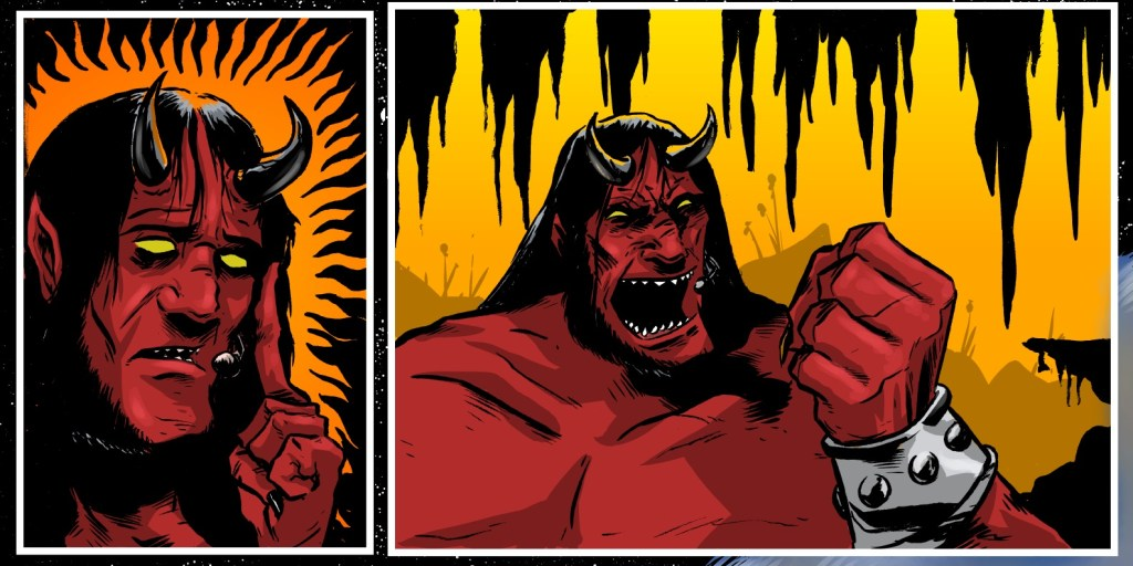"Satan hisself, color panels from artist Kelly Williams, story by Jon James. Inspired by ""Princes of the Universe"""