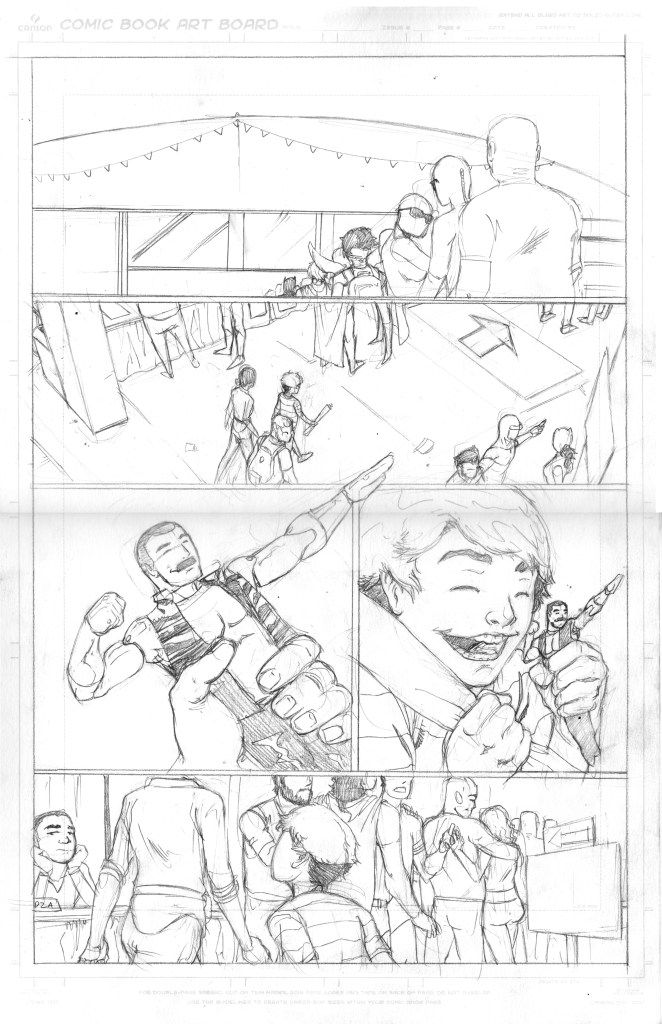 "Penciled page from ""Captain Thunder and the Champions"", story by Trevor Mueller, art by Paris Alleyne. Inspired by ""We Are The Champions"""