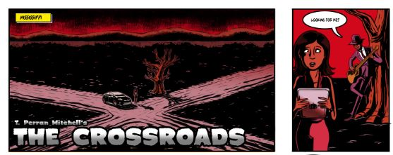 "panels, ""The Crossroads"" by T. Perran Mitchell and Mark Mullaney, inspired by Robert Johnson"