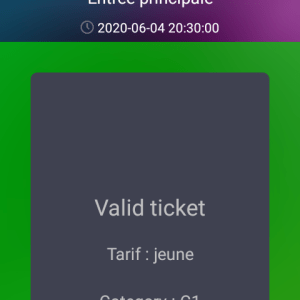 ecran scan billet valide application douchette billet android