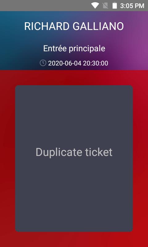 ecran choix spectacle application controle billets redtaag