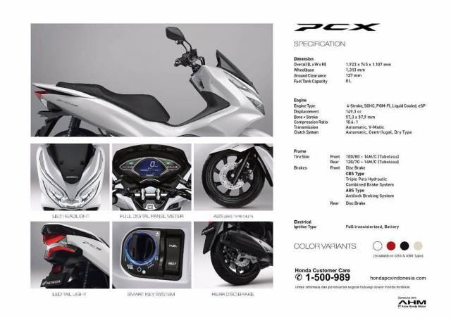 spesifikasi all new honda pcx150
