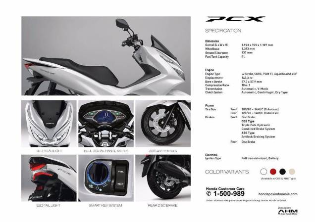 spesifikasi all new honda pcx150