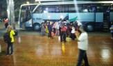 Kedatangan Bus Pemudik di Solo