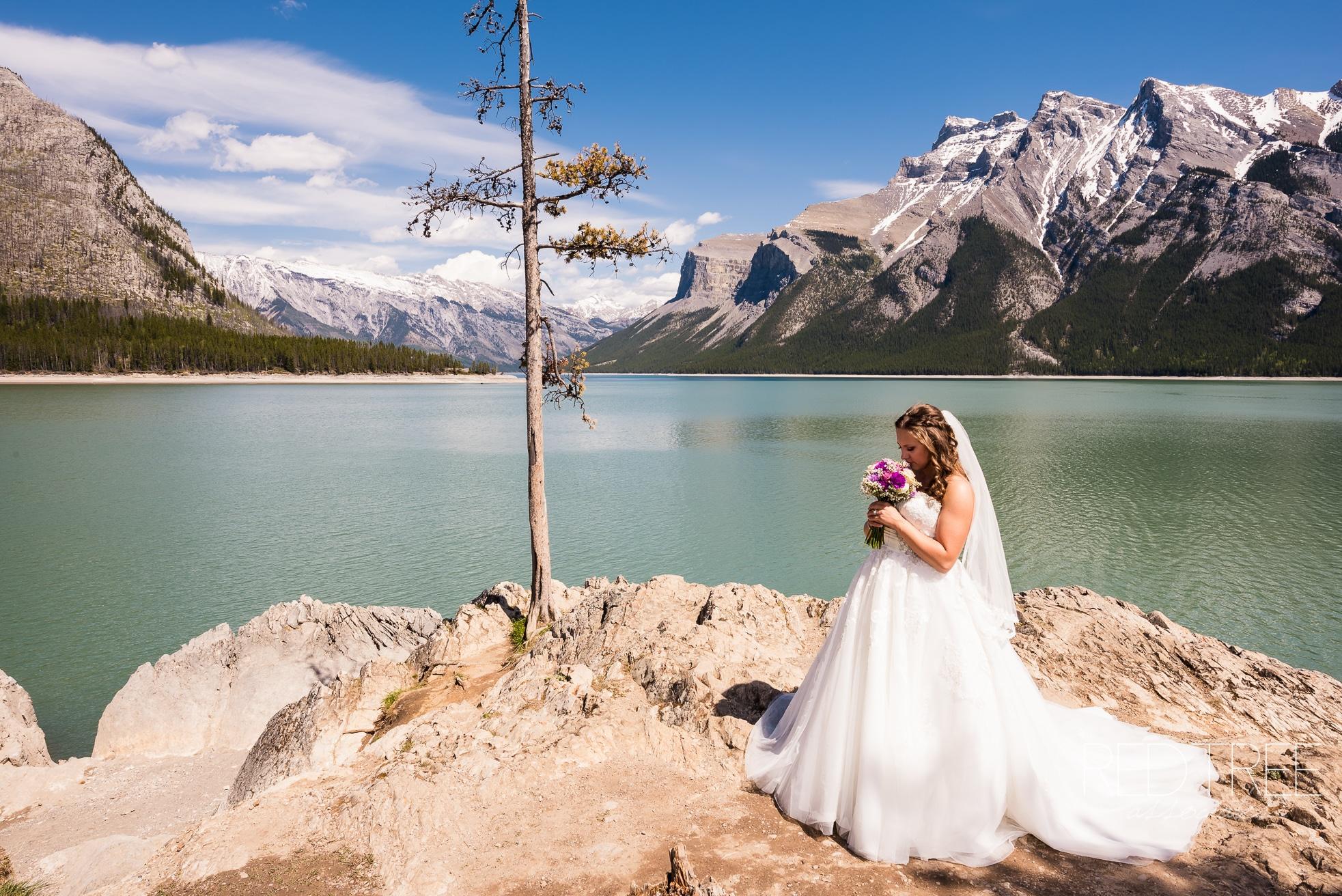 BANFF WEDDING PHOTOGRAPHER LAKE MINNEWANKA WEDDING