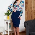 Rochie Albastru-inchis StarShinerS Cu Decolteu Si Imprimeu Floral