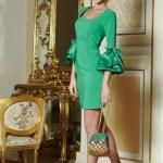 Rochie cu maneci clopot Artista verde accesorizata cu fundite