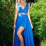 Rochie StarShinerS albastru-inchis de ocazie petrecuta cu decolteu in v