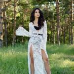 Rochie Ioana Grama by StarShinerS alba din material dantelat cu maneci clopot