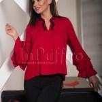 Bluza dama rosie cu guler tunica si broderie neagra