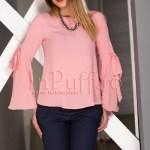 Bluza dama roz pal din voal texturat
