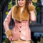 Jacheta roz din piele ecologica cu blana