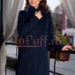Palton dama bleumarin elegant de stofa
