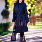 Palton dama trei sferturi gri inchis