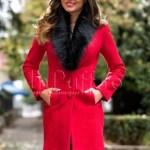 Palton elegant lana rosie cu blanita